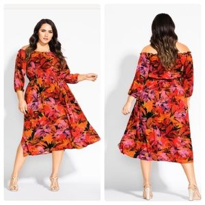 City Chic Sunrise Off the Shoulder Midi Dress 22